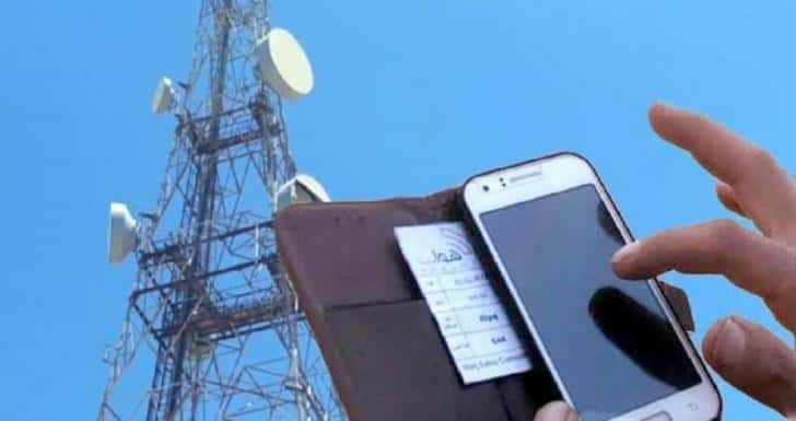 Mobile phone near satellite